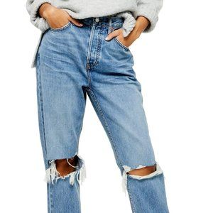 NWT- Topshop Ripped High Waist Dad Jeans